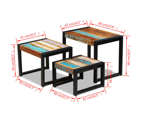 vidaXL Three Piece Nesting Tables Solid Reclaimed Wood[9/9]