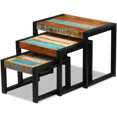 vidaXL Three Piece Nesting Tables Solid Reclaimed Wood[2/9]