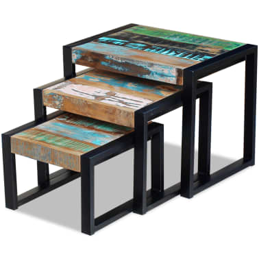 vidaXL Three Piece Nesting Tables Solid Reclaimed Wood[3/9]