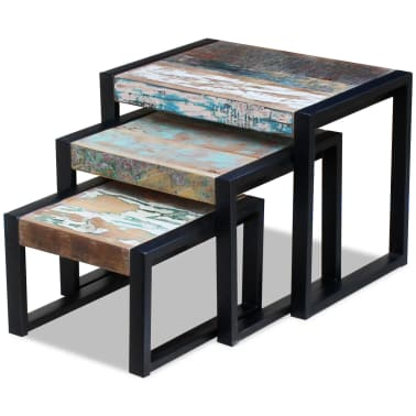 vidaXL Three Piece Nesting Tables Solid Reclaimed Wood[4/9]