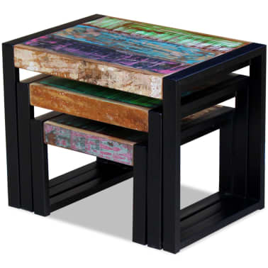 vidaXL Three Piece Nesting Tables Solid Reclaimed Wood[7/9]