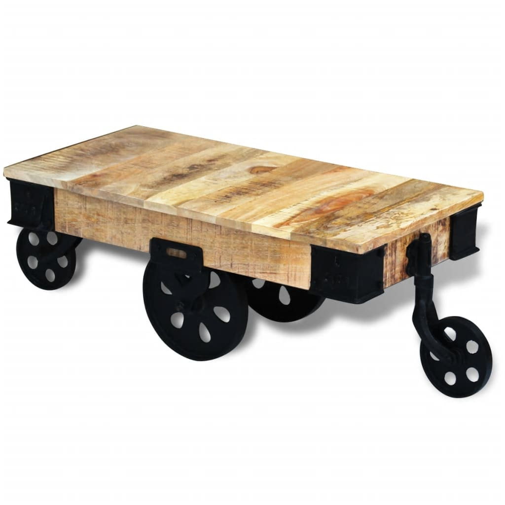 vidaXL Konferenční stolek s kolečky, hrubé mangovníkové dřevo