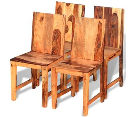vidaXL Chaise de salle à manger 4 pcs Bois massif de sesham[1/9]