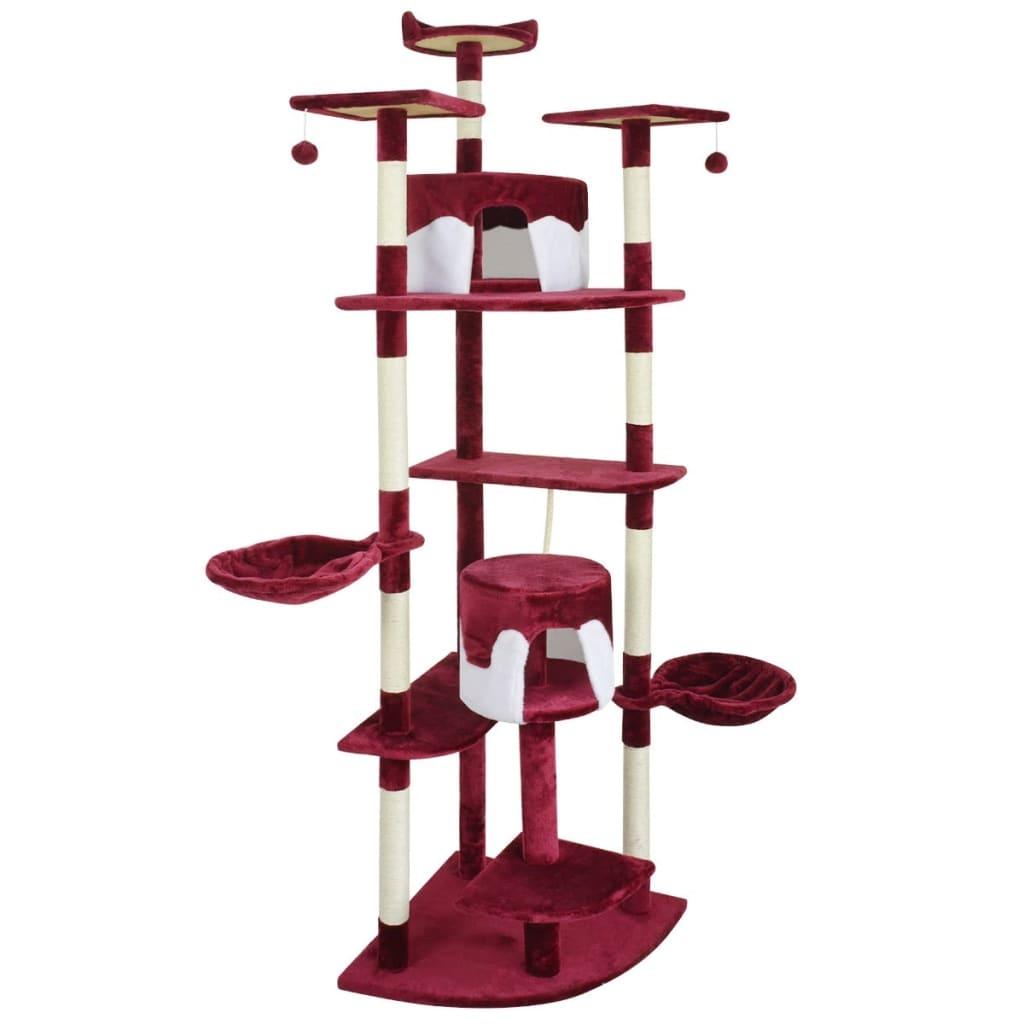 vidaXL Ansamblu pentru pisici, 213 cm, roșu și alb vidaxl.ro