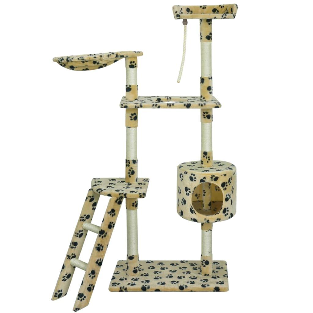 vidaXL Ansamblu din sisal pentru pisici 150cm galben cu urme de lăbuțe poza 2021 vidaXL