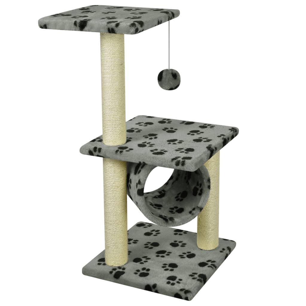 vidaXL Ansamblu sisal pentru pisici, 65 cm, gri cu urme de lăbuțe poza 2021 vidaXL