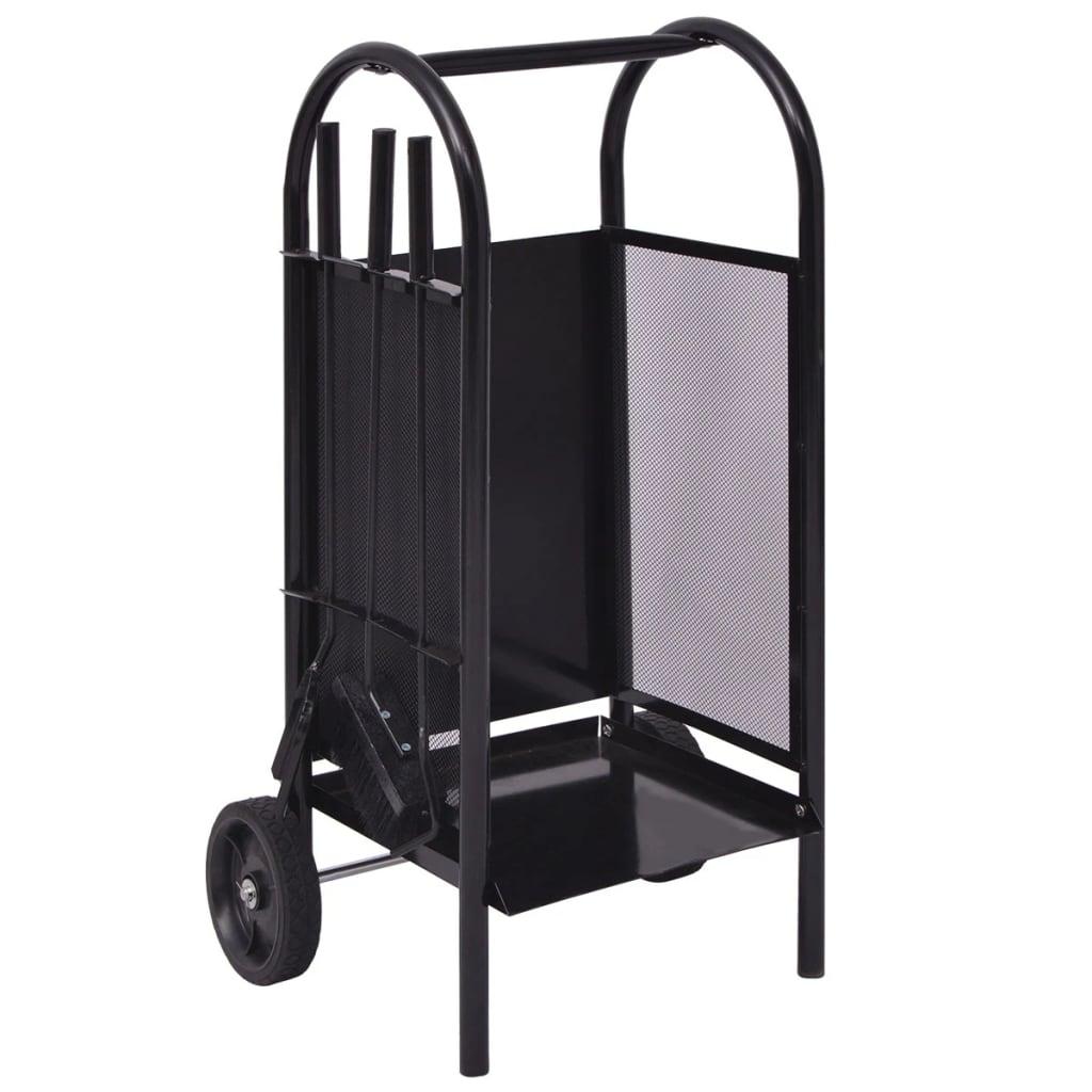 vidaXL Vozík na palivové dřevo železný 35x30x81 cm