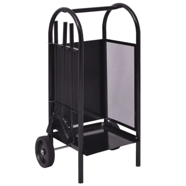 vidaXL Chariot à bois en fer 35 x 30 x 81 cm[1/4]