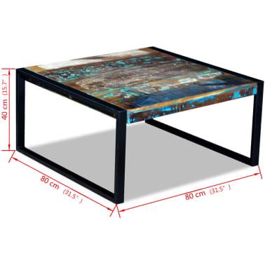 vidaXL Kavos staliukas, masyvi perdirbta mediena, 80x80x40 cm[8/8]