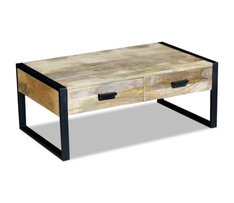 "vidaXL Coffee Table with 2 Drawers Solid Mango Wood 39.4x23.6""x15.7""[4/8]"