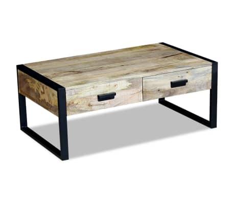 Vidaxl table basse avec 2 tiroirs bois de manguier massif 100 x 60 x 40 cm - Table basse en manguier ...