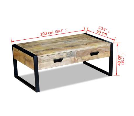 "vidaXL Coffee Table with 2 Drawers Solid Mango Wood 39.4x23.6""x15.7""[8/8]"