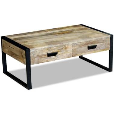 "vidaXL Coffee Table with 2 Drawers Solid Mango Wood 39.4x23.6""x15.7""[2/8]"