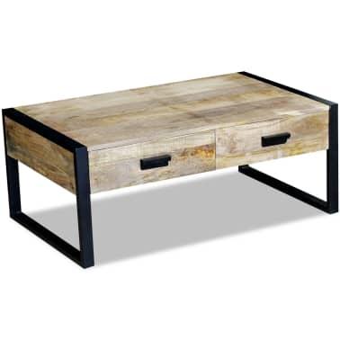 "vidaXL Coffee Table with 2 Drawers Solid Mango Wood 39.4x23.6""x15.7""[3/8]"