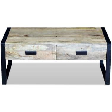 "vidaXL Coffee Table with 2 Drawers Solid Mango Wood 39.4x23.6""x15.7""[6/8]"