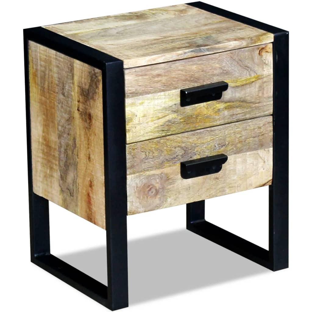vidaXL Τραπέζι Βοηθητικό με 2 Συρτάρια 43x33x51 εκ. Μασίφ Ξύλο Μάνγκο