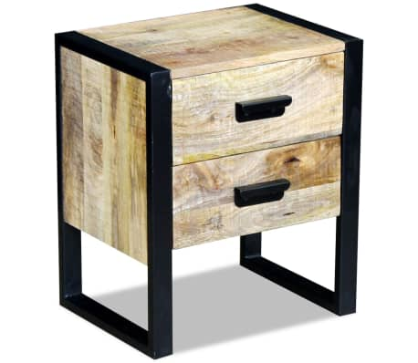 "vidaXL Side Table with 2 Drawers Solid Mango Wood 17""x13""x20""[4/8]"