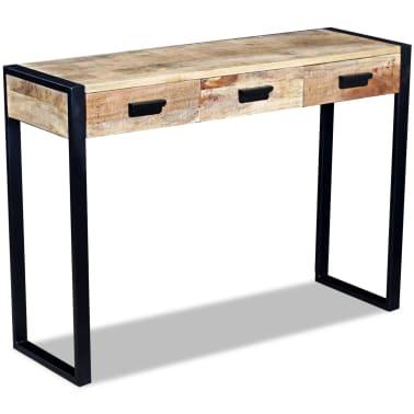 vidaXL Konsolinis staliukas su 3 stalčiais, masyvi mango mediena[1/8]