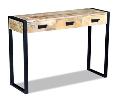 vidaXL Konsolinis staliukas su 3 stalčiais, masyvi mango mediena[2/8]