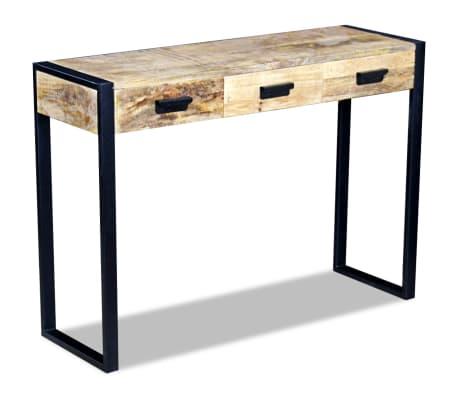 vidaXL Konsolinis staliukas su 3 stalčiais, masyvi mango mediena[5/8]