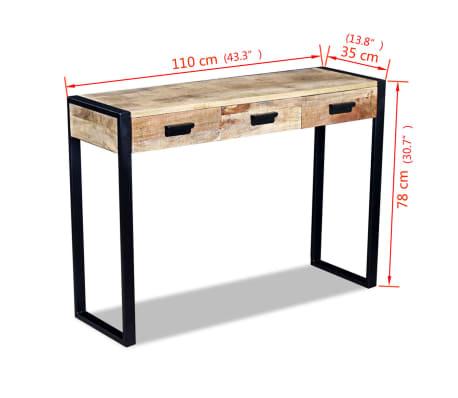 vidaXL Konsolinis staliukas su 3 stalčiais, masyvi mango mediena[8/8]