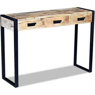 vidaXL Konsolinis staliukas su 3 stalčiais, masyvi mango mediena[3/8]