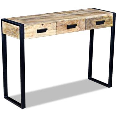 vidaXL Konsolinis staliukas su 3 stalčiais, masyvi mango mediena[4/8]