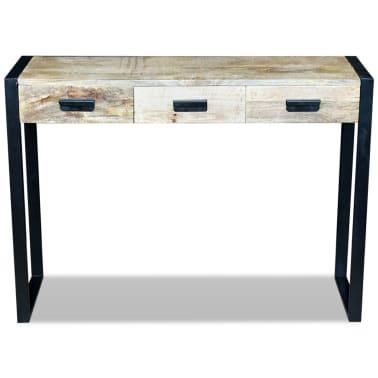 vidaXL Konsolinis staliukas su 3 stalčiais, masyvi mango mediena[6/8]