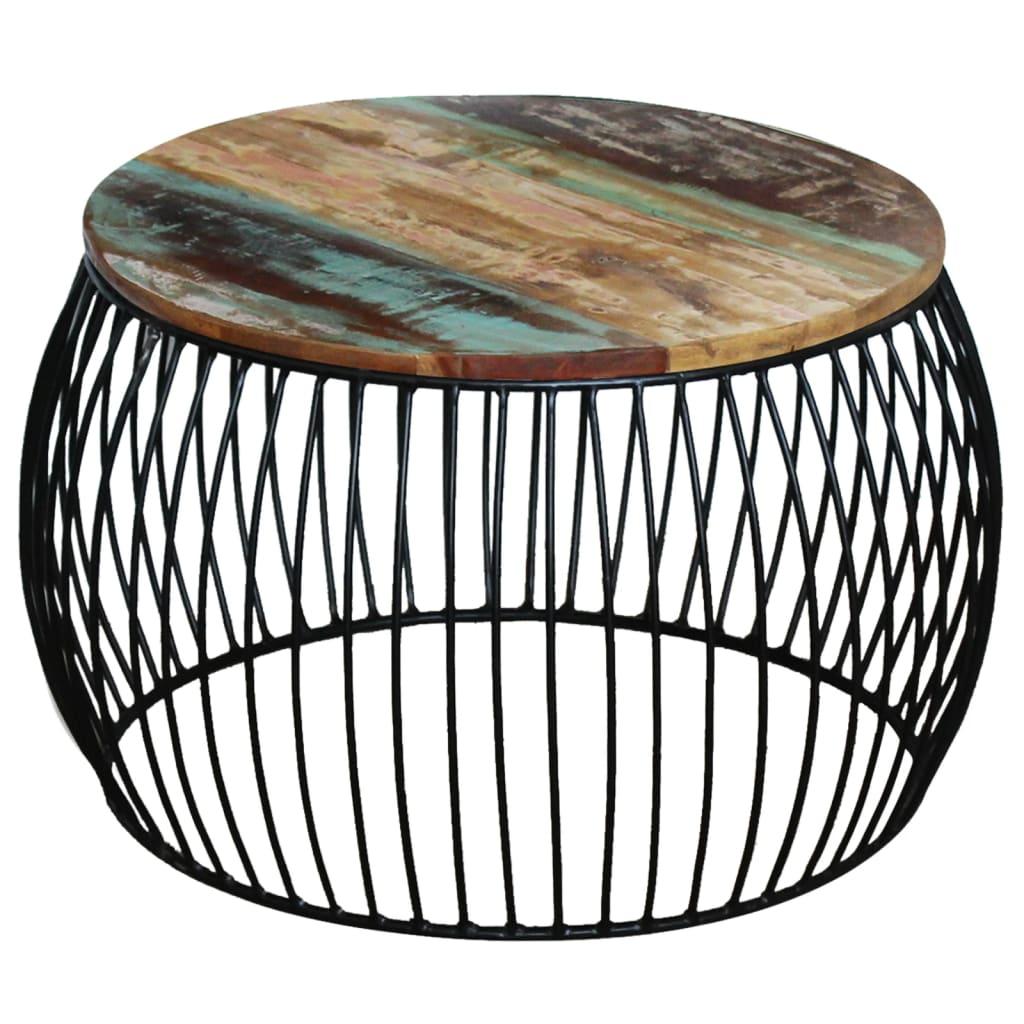 vidaXL Konferenční stolek kulatý, masivní recyklované dřevo 68x43 cm
