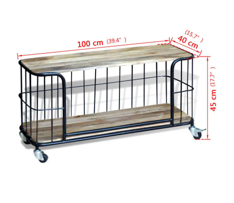 "vidaXL TV Cabinet Solid Mango Wood 39.4""x15.7""x17.7""[10/10]"