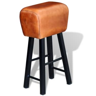 vidaXL Bar Stool Real Leather Brown[1/4]