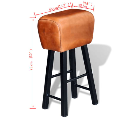 vidaXL Bar Stool Real Leather Brown[4/4]