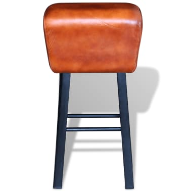 vidaXL Bar Stool Real Leather Brown[2/4]