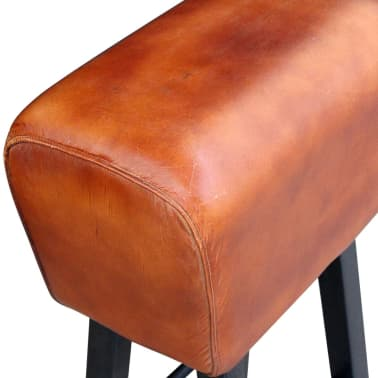 vidaXL Bar Stool Real Leather Brown[3/4]