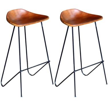 vidaXL Bar Chair 2 pcs Real Leather Brown[1/5]