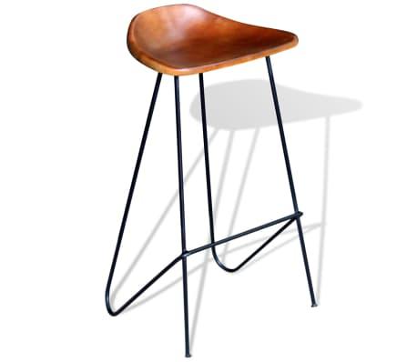 vidaXL Bar Chair 2 pcs Real Leather Brown[2/5]