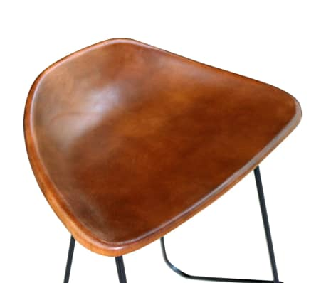 vidaXL Bar Chair 2 pcs Real Leather Brown[4/5]
