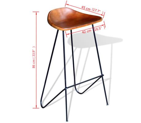 vidaXL Bar Chair 2 pcs Real Leather Brown[5/5]