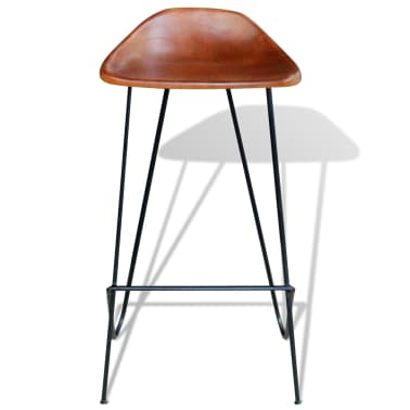 vidaXL Bar Chair 2 pcs Real Leather Brown[3/5]