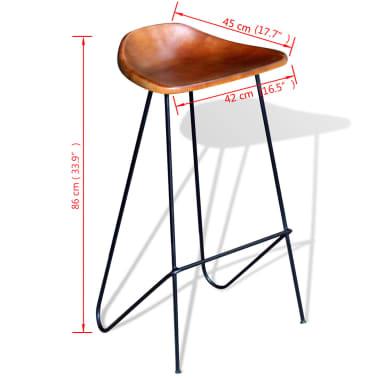 vidaXL Barstol 2 st äkta läder brun[5/5]