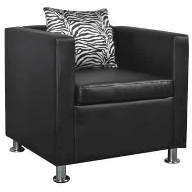 vidaXL Cube Armchair Artificial Leather Black[1/5]
