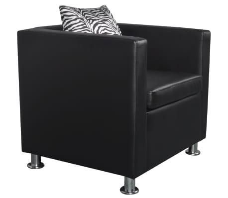 vidaXL Cube Armchair Artificial Leather Black[2/5]