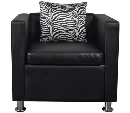 vidaXL Cube Armchair Artificial Leather Black[3/5]