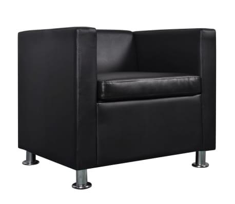 vidaXL Cube Armchair Artificial Leather Black[4/5]
