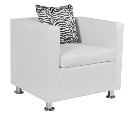 vidaXL Cube Armchair Artificial Leather White[1/5]