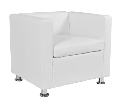 vidaXL Cube Armchair Artificial Leather White[4/5]