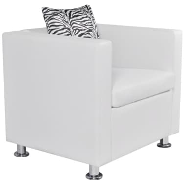vidaXL Cube Armchair Artificial Leather White[2/5]