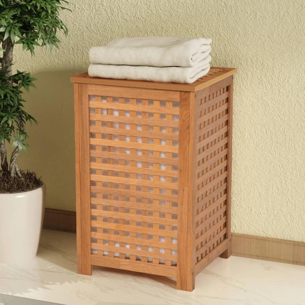 vidaXL Koš na prádlo, masivní ořechové dřevo 39x39x65 cm