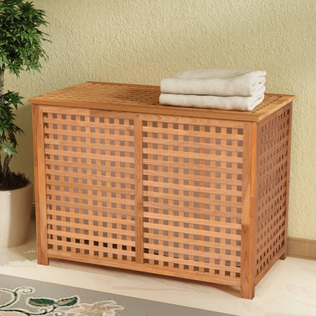 vidaXL Koš na prádlo, masivní ořechové dřevo 89x46x67 cm
