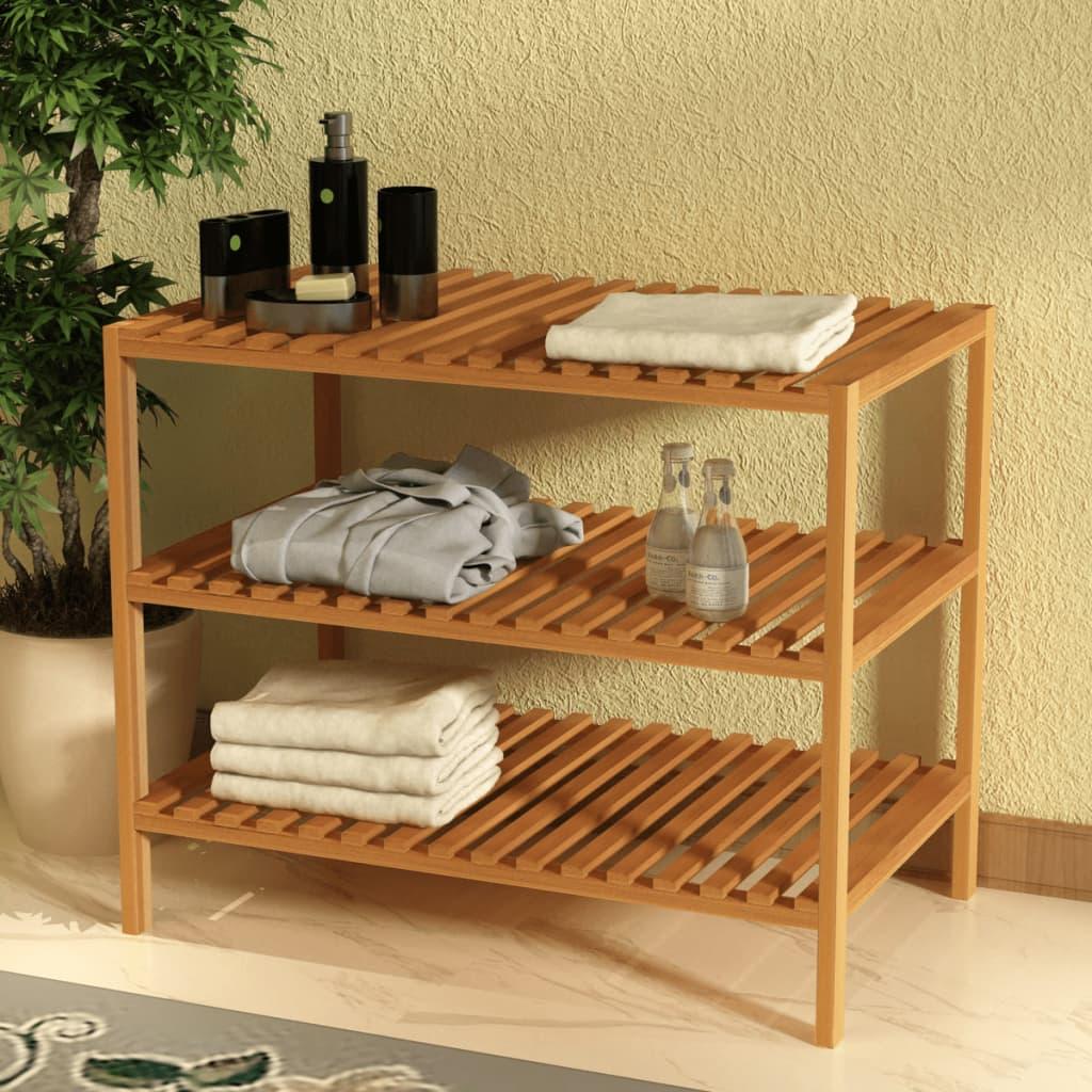 vidaXL Koupelnový regál masivní ořechové dřevo 65x40x55 cm